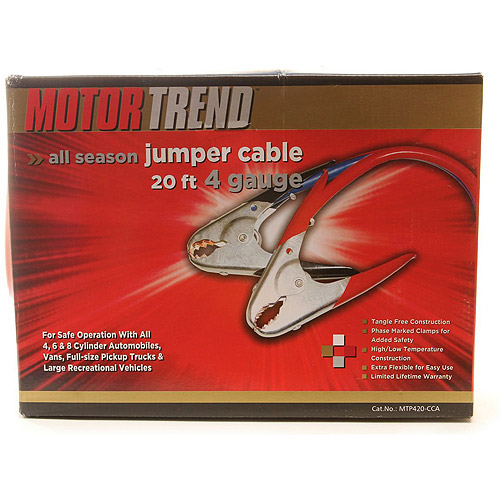 Motor Trend 20ft, 4 Gauge 500 Amp Clamp