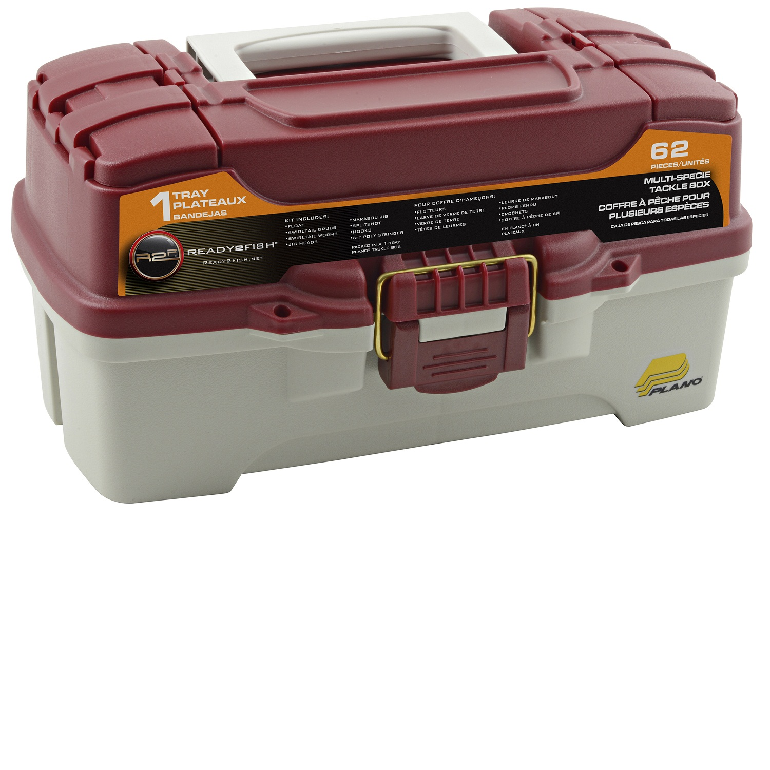 Ready 2 Fish 62-Piece 1-Tray Tackle Box