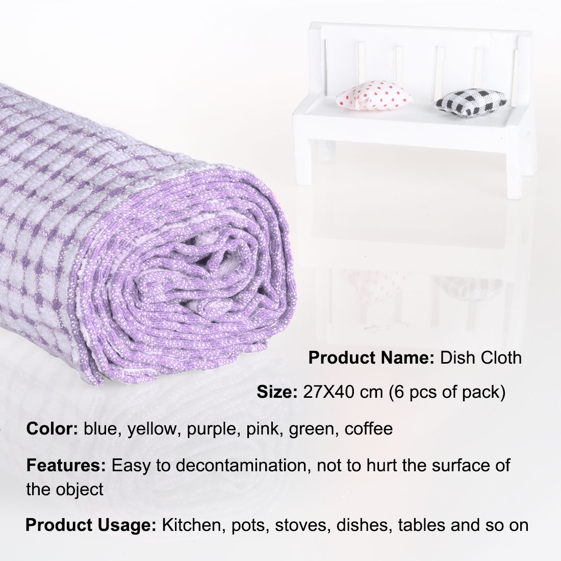 6pcs Kitchen Hotel Terry Cotton Dish Cleaning Towels Purple 10.5 x 15 Inch