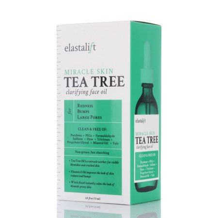 1.8 fl oz Elastalift Tea Tree Oil for face with Witch Hazel. Clarifying Tea Tree Face oil helps with Redness, Bumps, and Large (Best Makeup For Redness And Large Pores)
