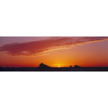 Silhouette of rock formations in a desert White Desert Farafra Oasis Egypt Canvas Art - Panoramic Images (18 x (White Rock Oasis)