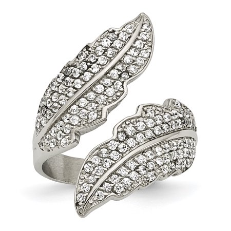 Stainless Steel Polished Leaf with CZs Ring SR384