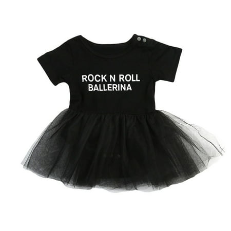 Rock And Roll Outfits (Toddler Infant Baby Girls Short Sleeve Rock N Roll Ballerina Tutu Romper Dress)