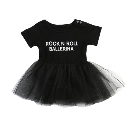 Toddler Infant Baby Girls Short Sleeve Rock N Roll Ballerina Tutu Romper Dress Outfits