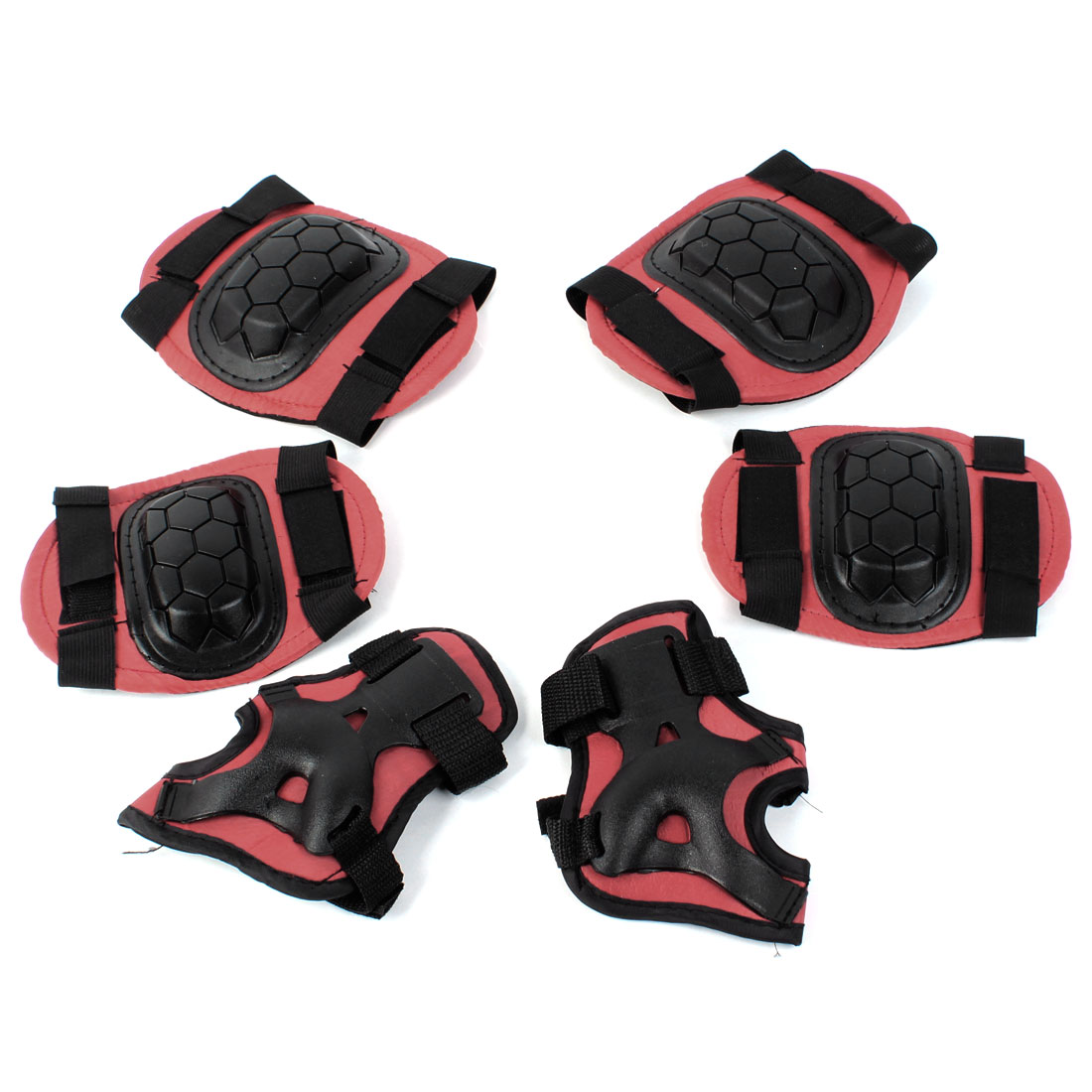 Red Skating Elbow Knee Palm Support Pad Protector 6 in 1 Set for Children