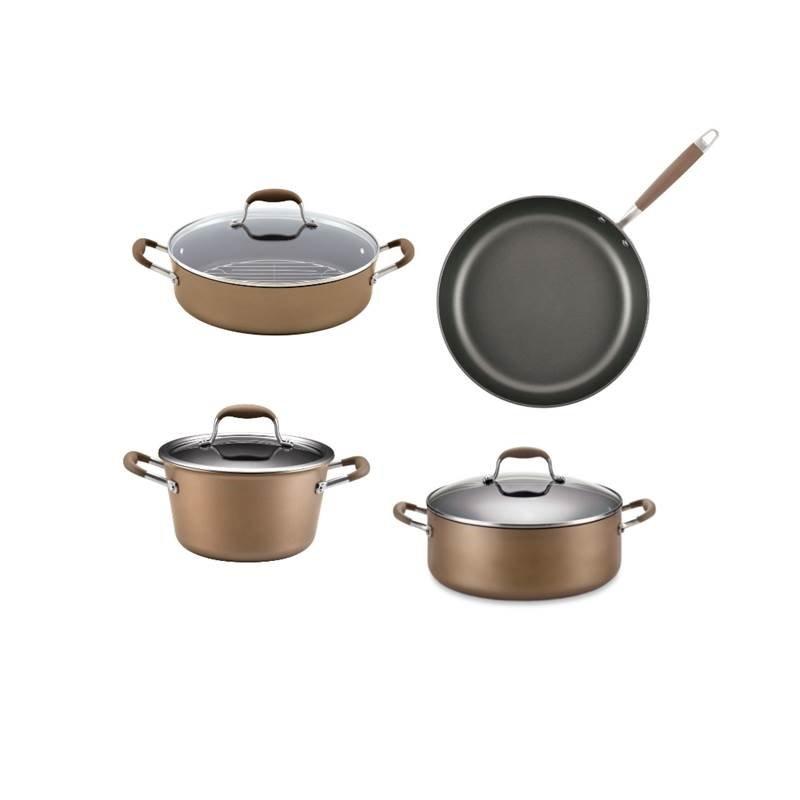 4 Piece Nonstick Cookware Set with 2 Stock Pot Frying Pan Braiser by