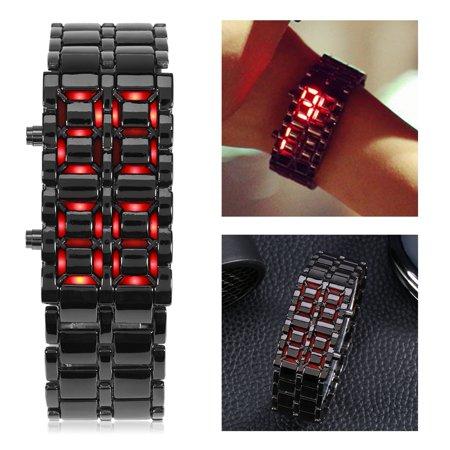 Ymiko Bracelet Watch,Couple Watch,4Types Fashionable Steel Band Couple Bracelet Watch LED Lighting Electronic Wristwatch - Led Wrist Bands
