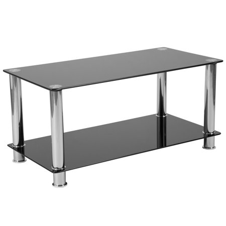 Flash Furniture Riverside Collection Black Glass Coffee Table with Shelves and Stainless Steel Frame ()