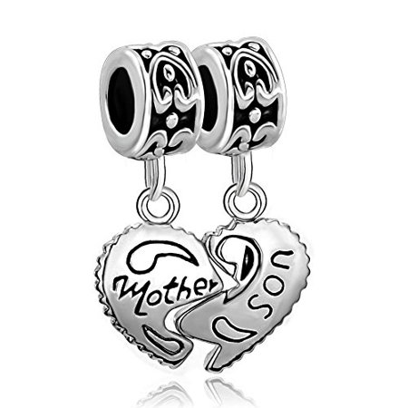 Fit Pandora Charms Silver Plated Heart Mother & Son Family Puzzle Dangle Beads ()