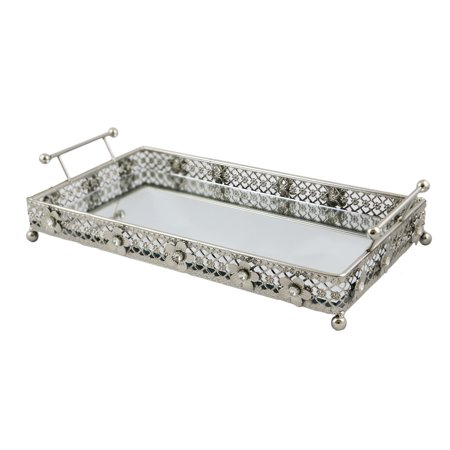 Silver Mirrored Vanity Pastry Serving Platter tray with Handles Accented with Flowers and Crystals