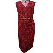 Lauren Ralph Lauren Women's Belted Floral Jersey Dress