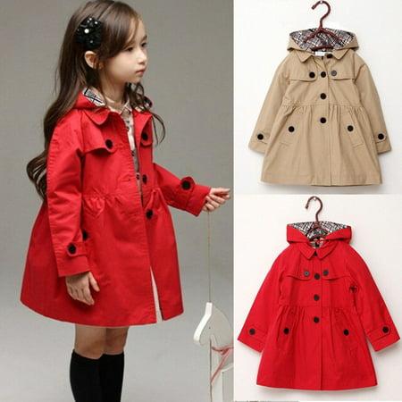 Kids Girls Hooded Winter Clothes Fleece Outerwear Long Trench Wind Coat Jacket