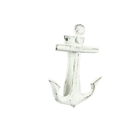 "Rustic Whitewashed Cast Iron Decorative Anchor Door Knocker 6"" - Antique Anchor - Nautical Home"