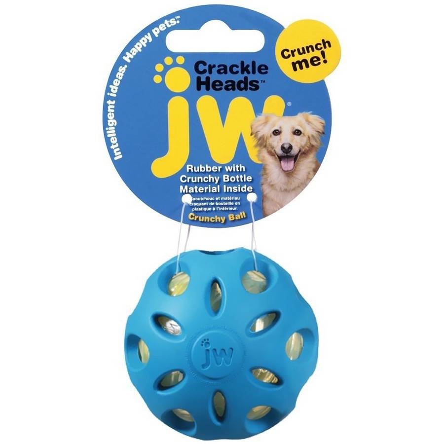 JW Pet Crackle Heads Crackle Ball Dog Toy, Large, Assorted