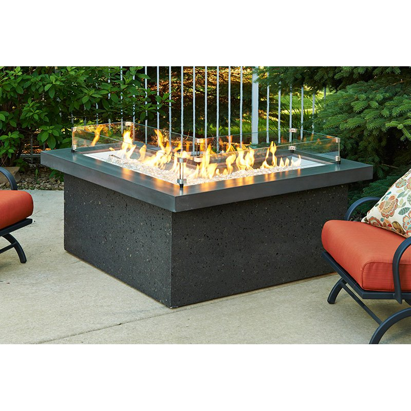 Outdoor GreatRoom Pointe L-Shaped Fire Pit Table with Free Burner Cover and Optional Glass Guard