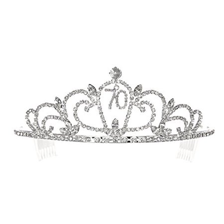 Best Birthday Party Accessory 70th Rhinestone Crystal Tiara Crown for