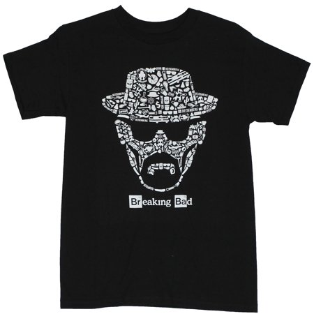 Halloween Light Show Breaking Bad (Breaking Bad Mens T-Shirt - Walter White Heisenberg Face Made of Show Images (Small,)