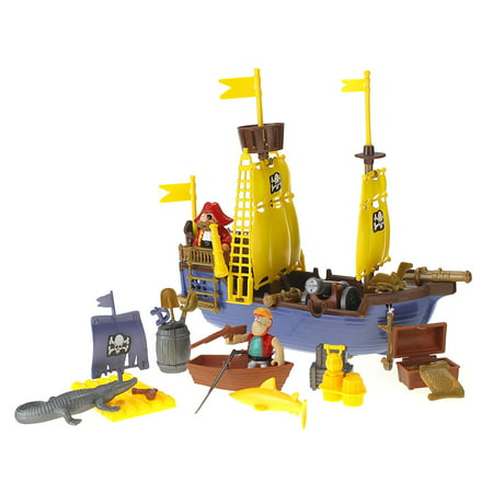 Toy Pirate Ship Playset w/ Ship, Pirates, Cannons, Treasure, Weapons & (Veggietales Light N Sound Activity Pirate Ship)