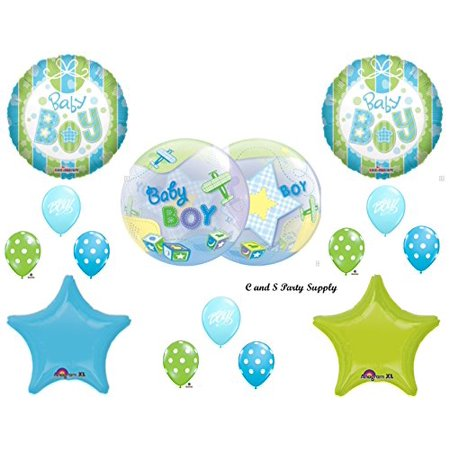 - IT'S A BOY AIRPLANE & BLOCKS BABY SHOWER Balloons Decorations Supplies