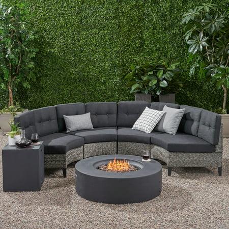 Hampton Outdoor 6 Piece Wicker Half Round Sofa Set with Fire Table, Mixed Black, Dark Grey ()