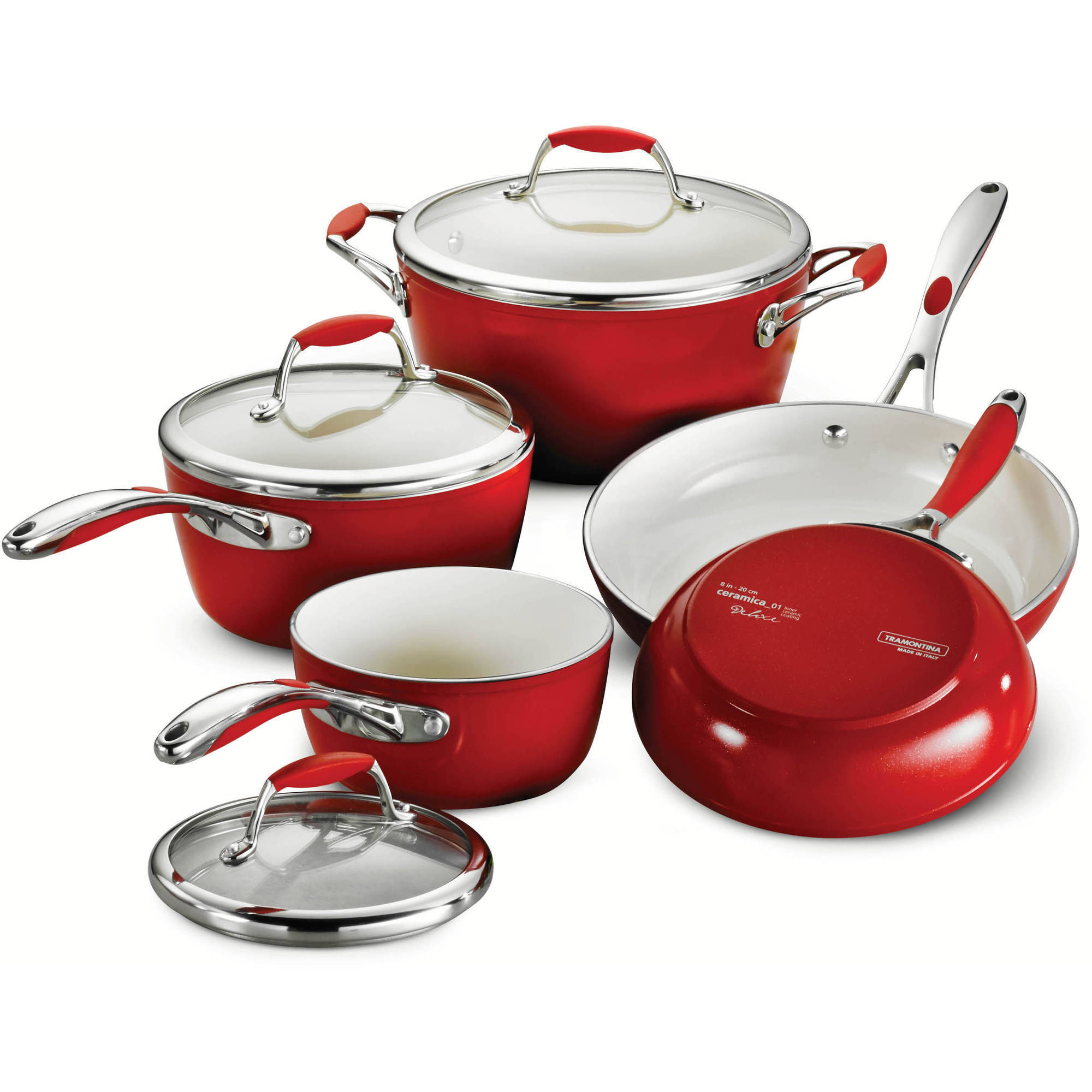 Tramontina Gourmet Ceramica_01 Deluxe 8-Piece Cookware Set, Red by Tramontina USA Inc.