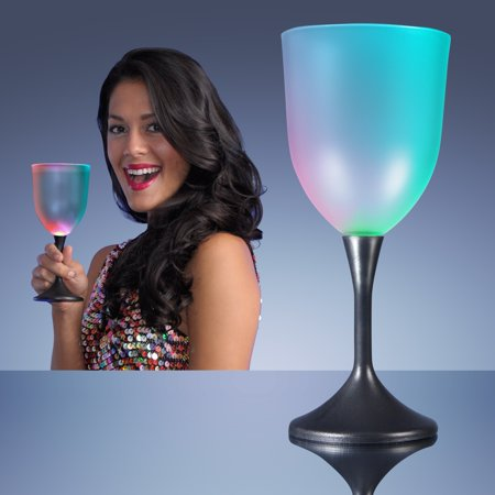 FlashingBlinkyLights Light Up LED Frosted Wine Glass Black Base (Frosted Wine Glasses)