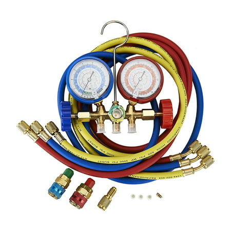 Tek Motion 5FT AC Diagnostic Manifold Freon Gauge Set for R134A R12, R22, R502 Refrigerants, with Couplers and ACME Adapter