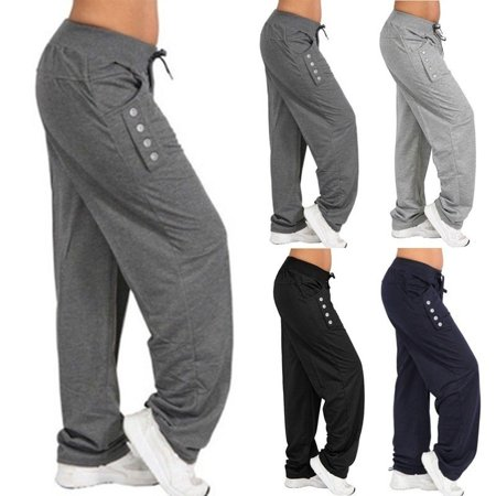 Grey Check Trousers (Women's Fashion Loose Casual Pure Color Harem Yoga Joggerpant Trousers Harem Women Trousers)