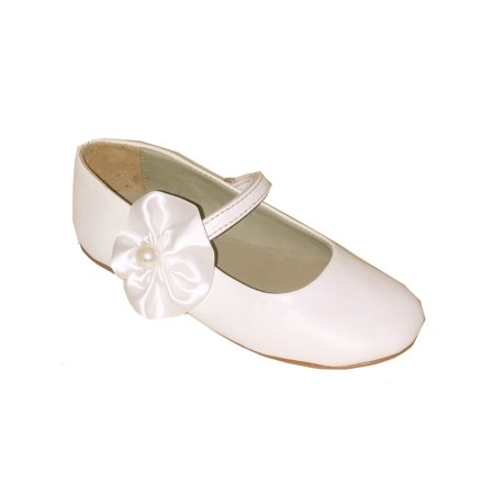 Ivory Satin Flower Girl Shoes (Pazitos Girls Ivory Satin Pearl Flower Adorned Mary Jane)