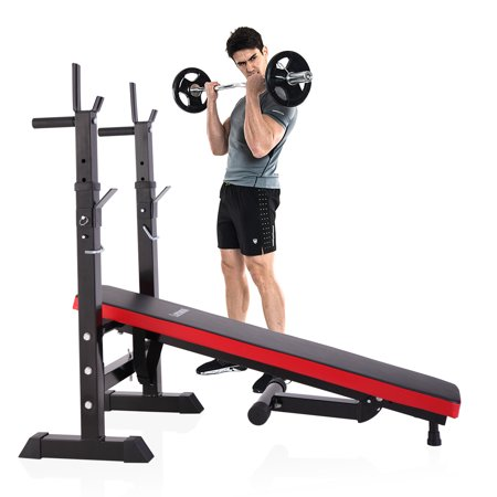 Jaxpety Folding Weight Bench With Rack Adjustable Lifting Strength Gym