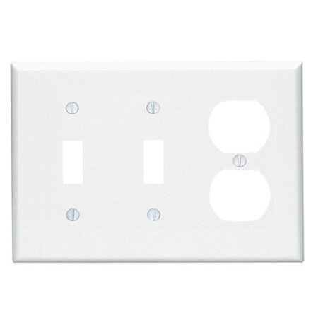 Leviton 80521-W White Midway Three Gang Combination Two Toggle Switch One Duplex Receptacle Wall Plate Leviton White 3 Gang