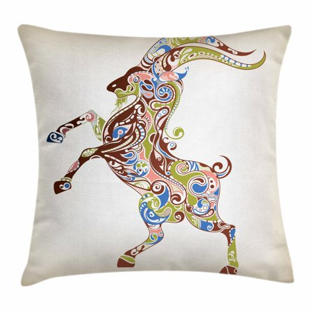 Goat Throw Pillow Cushion Cover, Reared Up Goat with Grandioso Horns and Colorful Oriental Ornaments as Zodiac Symbol, Decorative Square Accent Pillow Case, 16 X 16 Inches, Multicolor, by - Oriental Zodiac