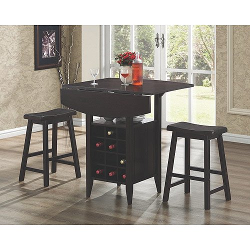 3 Piece Table Set With Wine Rack
