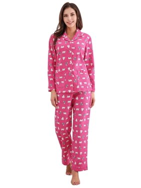 Richie House Women's Cotton Printed Flannel Two-piece Set Pajama RHW2774-A-L