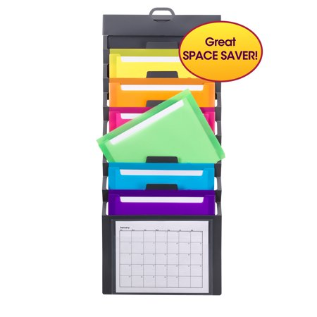 Smead Cascading Wall Organizer, 6 Pockets, Gray/Bright, Letter Size (Wall Pocket File Organizer)