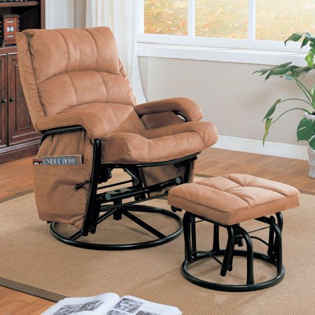 Coaster Microfiber Glider Recliner and Ottoman in Brown - Microfiber Rocker Recliner Chair