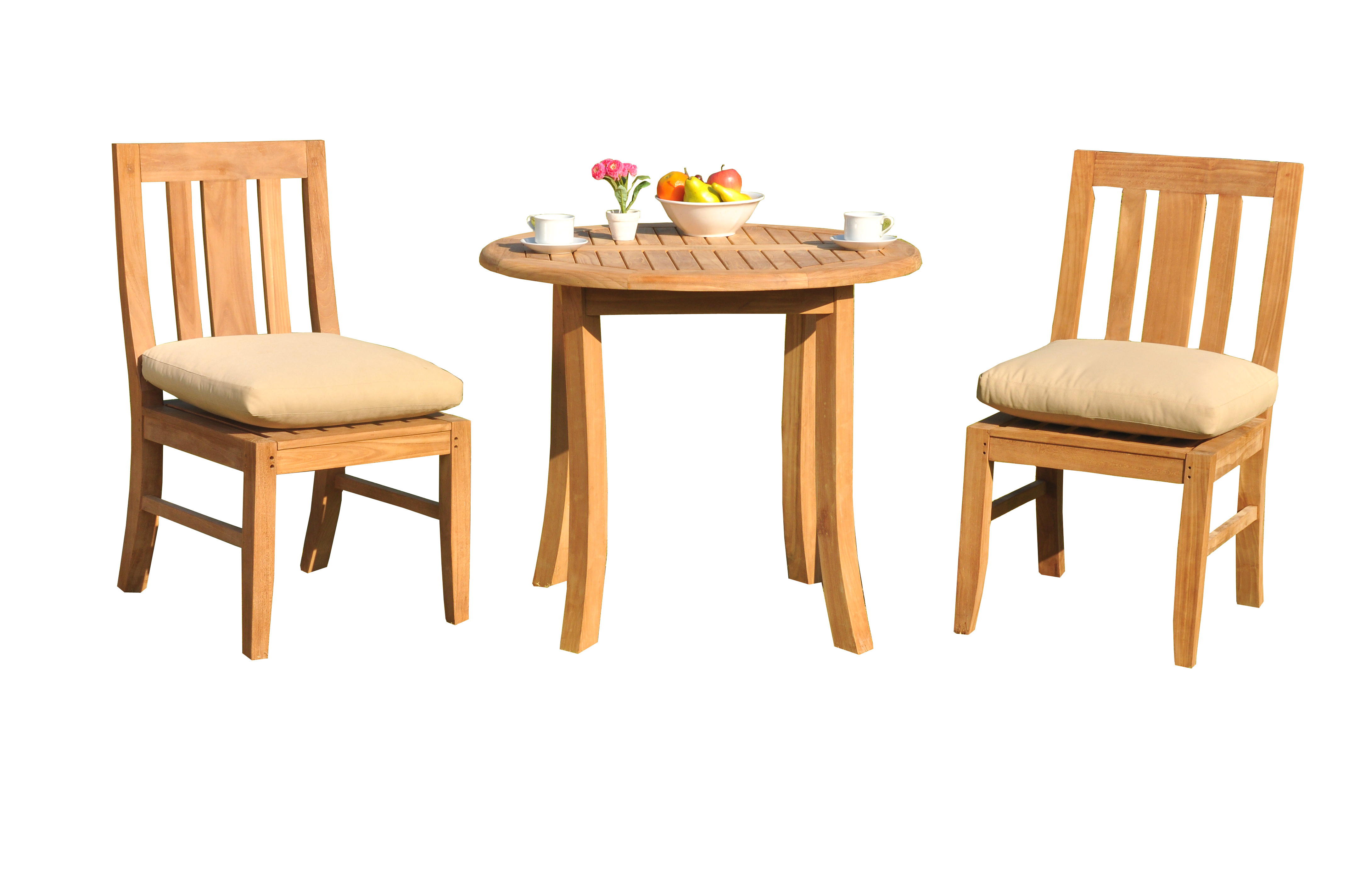 "3 PC A Grade Outdoor Patio Teak Dining Room Set 36"" Round Table & 2 Osawa Armless Chairs by"
