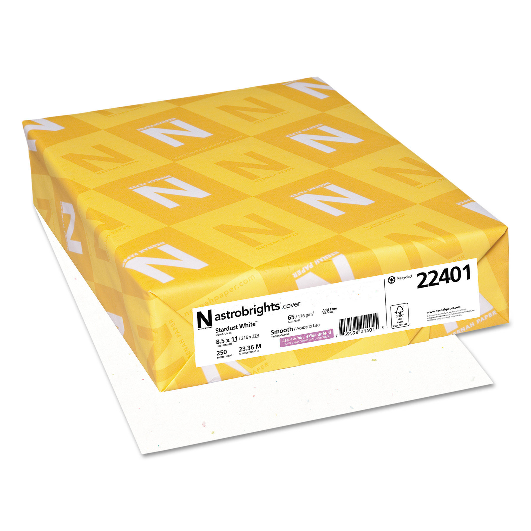 """Astrobrights Colored Card Stock, Stardust White, 8.5"""" X 11"""", 250 Count"""