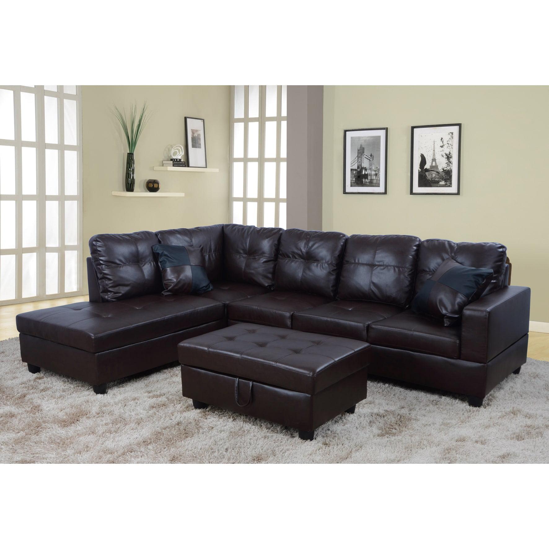 Lifestyle Furniture Lf093a Urbania Left Hand Facing Sectional Sofa 44 Dark Chocolate 35 X 103 5 X 74 5 In Walmart Com Walmart Com