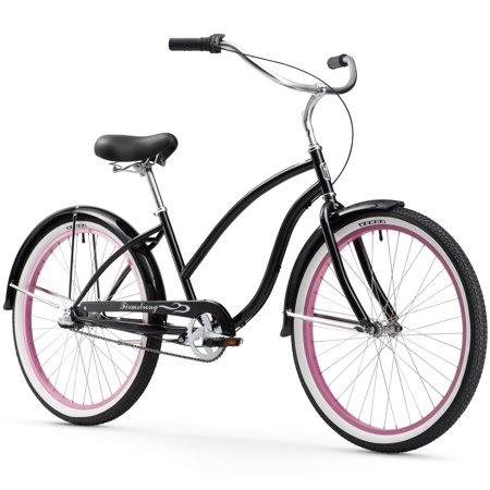 26 firmstrong chief lady three speed beach cruiser women 39 s bicycle black w pink rims. Black Bedroom Furniture Sets. Home Design Ideas