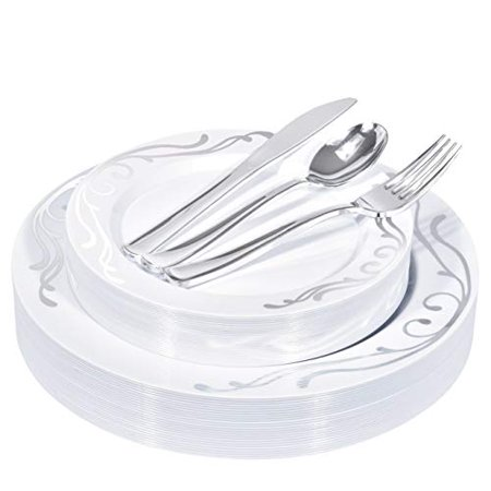 3 Piece Sterling Place Setting (Stock Your Home 125 Piece Place Setting- Silver Scroll )