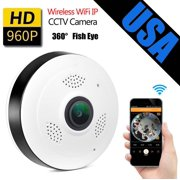 AGPtek Mini Wifi IP Camera 360 Degree Panoramic Fisheye Camera Two Way Audio 960P HD