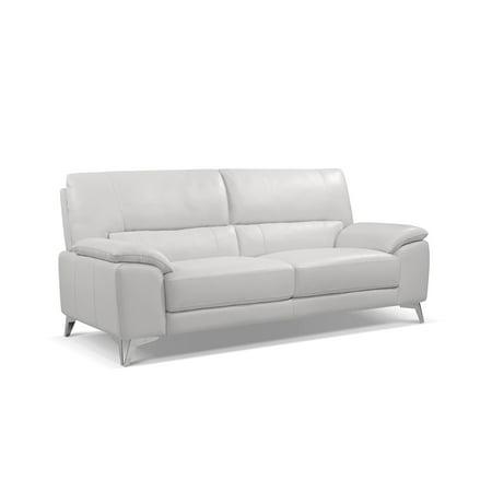 Whiteline Modern Living White Tatiana Contemporary Top Grain Leather Sofa