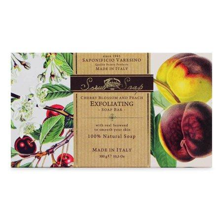 Peach Exfoliating Soap (Cherry Blossom + Peach Exfoliating Soap by Saponificio Varesino (300g Soap  Bar))