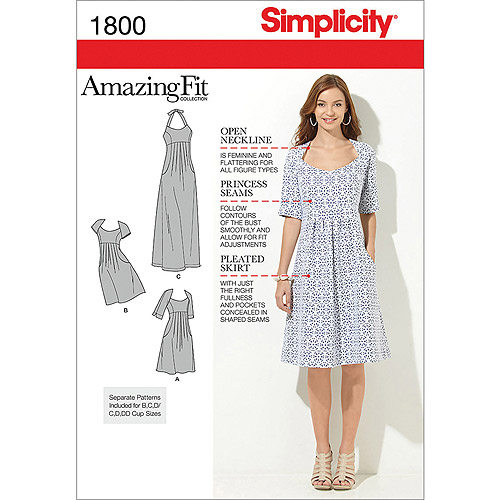 Simplicity Pattern Misses' Amazing Fit Dresses, (10, 12, 14, 16, 18)