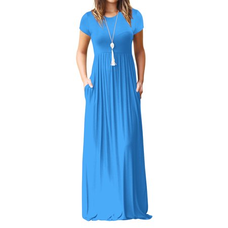 6ac4f44638 BONRICH - Bonrich Women's Maxi Skirt Pure Color Simple Relaxed Leisure  Spring And Summer Short Sleeves Long Skirt With Pockets - Walmart.com