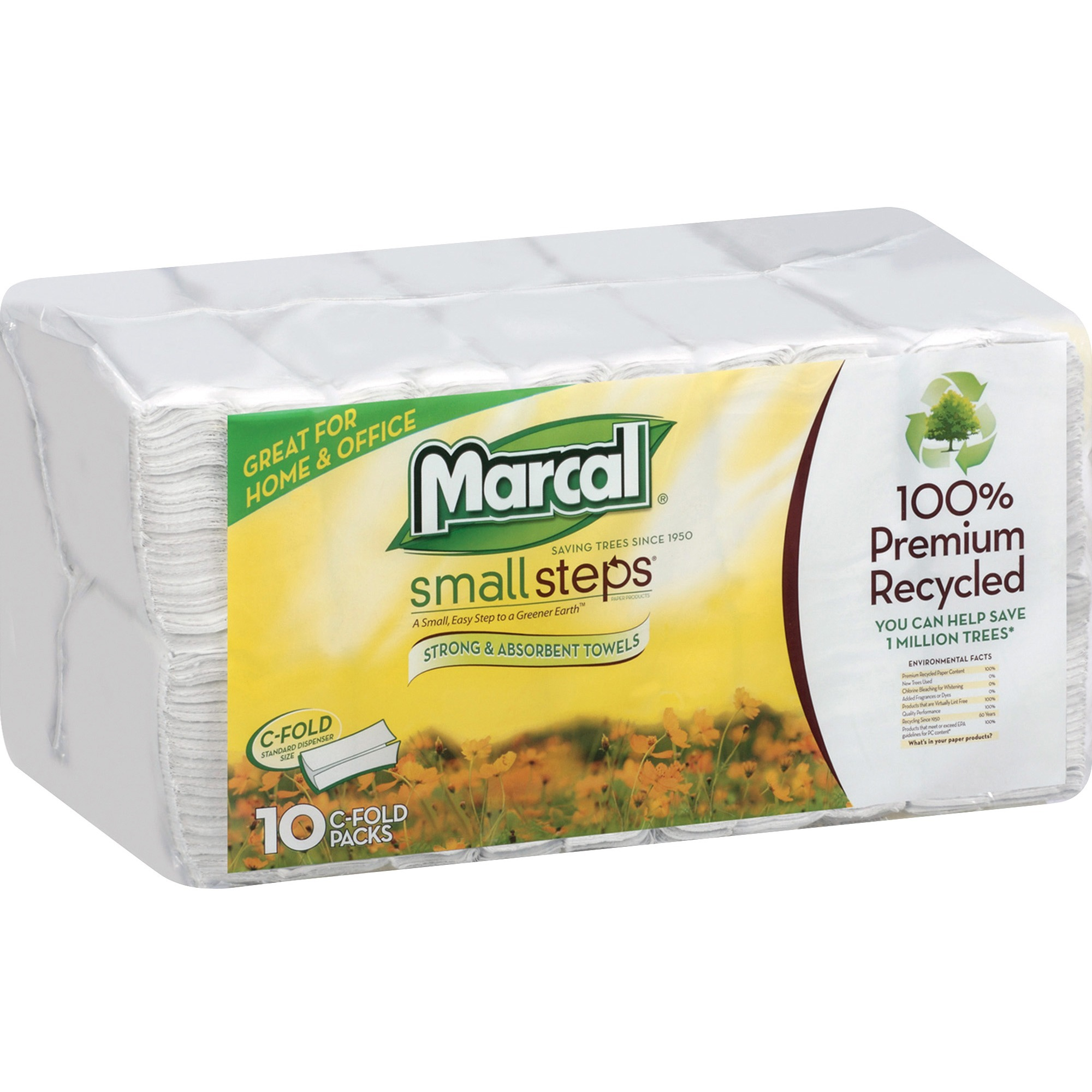 Marcal Pro, MRC0672402, 100% Recycled, C-Fold Paper Towels, 1500 / Bag, White