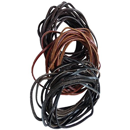Brown Leather Cord Bracelet - REED Genuine Leather Cord Braiding Lace Strings for Leather Crafts and Jewelry Making of Necklaces, Bracelets (3 mm) 15 yd., Black/Brown/Dark Brown