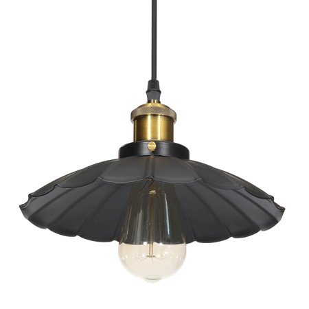 Retro Industrial Vintage Iron Hanging Ceiling Lamp Chandelier Pendant Light Fixture Barn Lampshade Matte Black for Kitchen Light Bulb Living Room Bar Counter Dining Room Restaurant