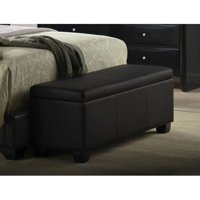 Ireland Bench with Storage, Black Faux Leather